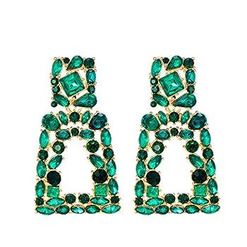Crystal Rectangle Dangle Earrings for Women Rhinestone Geometric Drop Statement Earrings KELMALL COLLECTION