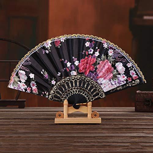 XKMY Abanico de artesanía de estilo chino plegable de mano para baile, boda, fiesta, encaje, seda, plegable, para flores, verano, boda, fiesta, color negro