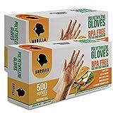 1000 BPA Free Disposable Poly PE Gloves Medium, Food Grade, 2 Pack of 500...