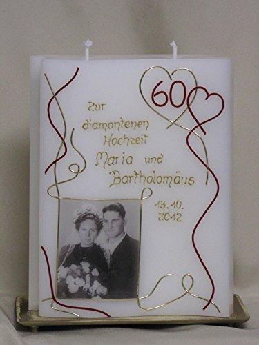 Kerze zur diamantenen Hochzeit ♥ Hochzeitskerze ♥ inkl. Namen, Datum und Foto ♥, J 22