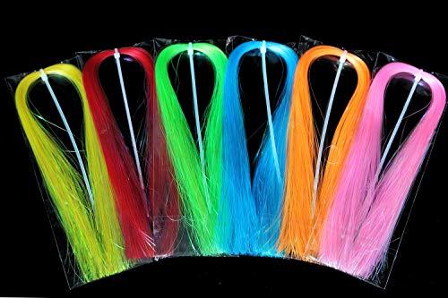 Tigofly 6 colores surtidos fluorescente UV Flashabou 0,36 mm ancho espumón flash cristal flash mosca pesca atando materiales