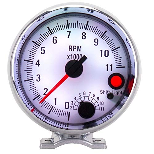 No-branded Odometer Spur Wagen Spur 95MM 7 Farbe Auto Tachometer-Lehre 0-11000 RPM High Speed-Schrittmotor mit Shift-Licht ZHQHYQHHX (Color : Silver and White, Size : Kostenlos)