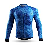 NEENCA - Maillot de ciclismo para hombre de manga larga con 3 bolsillos traseros, transpirable y de secado rápido - Azul - Large