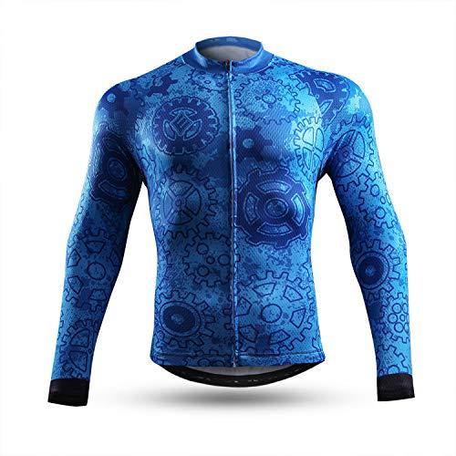 NEENCA Maillot de Ciclismo para Hombre, Manga Larga, con 3 Bolsillos Traseros, Camisa de Ciclismo con Cremallera Completa, Transpirable, Secado rápido