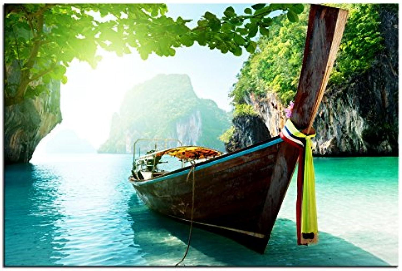 Kunst-discounter Bild Leinwandbilder Canvas Longboat in Krabi Thailand A05370 150 x 100 cm