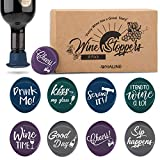 Whaline 8 Pack Christmas Wine Bottle Stoppers and Gift Box, Funny Silicone Reusable Caps Bottle Sealers with a Funny Saying for Wine Beer Bottles