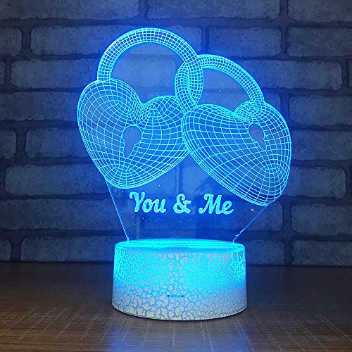 DKIPN 3D Love Lock Night Light, 3D Illusion Lamp 16 Color Change Decor Lamp Desk Lamp with Remote Control for Living Bedroom Decoration Birthday Christmas Holiday Kids Best Gift Toys
