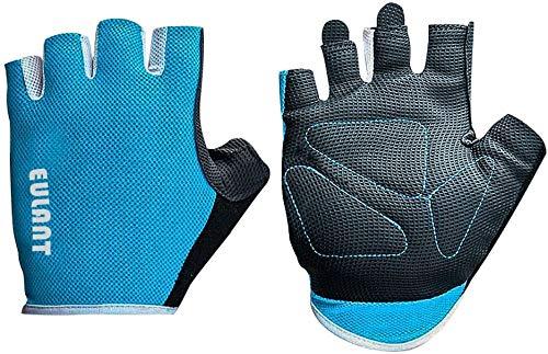 Guantes sin Dedos Deportes Hombres Guantes de Ciclismo Mujeres Guantes de Entrenamiento para Culturismo Gimnasio Aptitud Física MTB Guantes Medio Dedo Azul/S