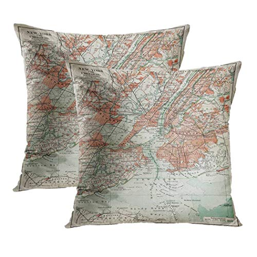 Y·JIANG - Funda de cojín con diseño de mapa antiguo de Nueva York de finales del siglo XIX, de te