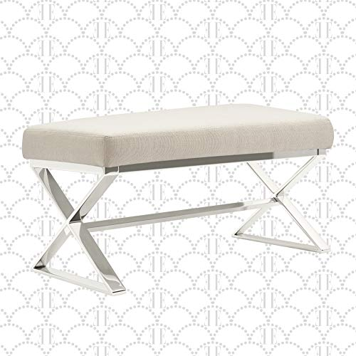 "Elle Decor Upholstered Long Vanity Bench Criss-Cross Metal Frame Legs in Gold or Shiny Chrome, Fabric Padded Furniture for Bedroom, 32"", Beige Weave"