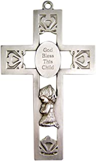 God Bless This Child Praying Girl Pewter Wall Cross for First Communion or Baptism 5 1/4 Inch