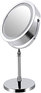 YXZQ Makeup Mirror, Led with Light, dimmable Touch Screen Beauty USB Rechargeable Touch dimming with Light 7 inch Double-Sided Mirror