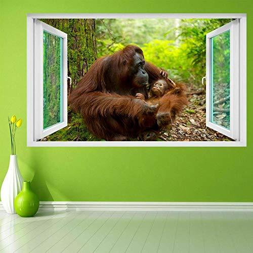 Pegatinas de paredOrangután Animal Wall Art Stickers Mural Calcomanía Vinilo Poster Kids Room Decor FD27