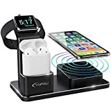 YFW Apple Watch Ladestation, 3 in 1 Wireless Charger für iPhone XS Max/Xs/XR/X/8/8 Plus, 10W Qi...