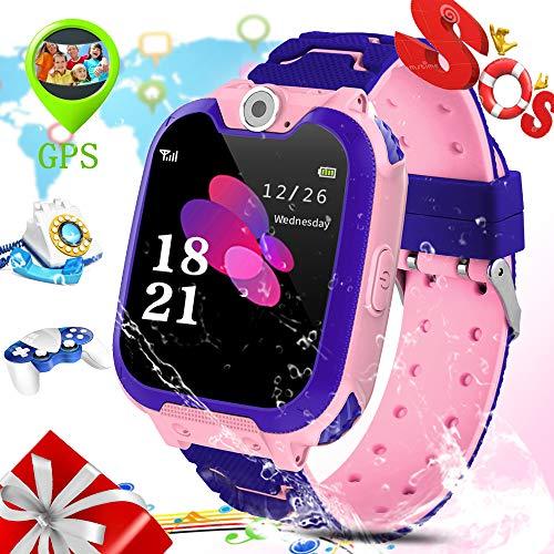 ZEERKEER S12 Kids Smart Watch IP67 Waterproof LBS Tracker Smart Watch for Kids with Two-Way Call SOS Anti-Lost Alarm Touch Screen Camera Games, Best Gift for Girls Boys (Pink)