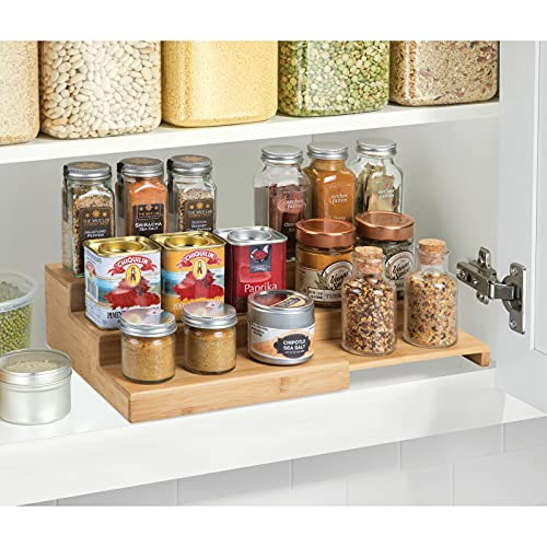 mDesign Bamboo Expandable Kitchen Cabinet, Pantry, Shelf Organizer/Spice Rack - 3 Level Storage, Easy Pull Out Handle, Expands up to 15' Wide, Multipurpose - Natural Light Wood