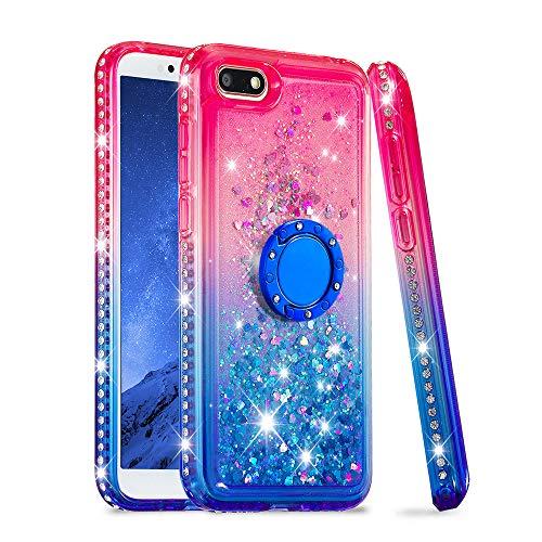 FAWUMAN Hülle für Huawei Y5 (2018)/ Y5 Prime (2018) mit Ring Kristall Diamant Gradient Farbverlauf Durchsichtig Flüssig Treibsand Silikon TPU Bumper Hülle