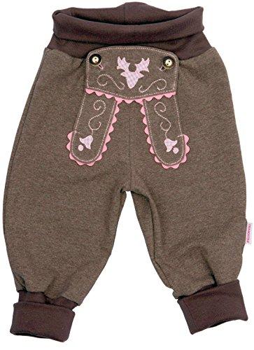 P.Eisenherz Bavariashop Baby Jogginghose Lederhosen Look, Rosa, 100% Baumwolle, Erstausstattung Size 86