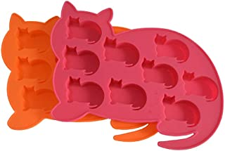 LYWOO Cat Shaped Silicone Ice Cube Molds and Tray, Pack of 2