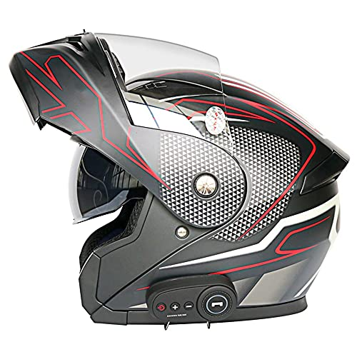 RMBDD Bluetooth Integrado Modular Flip Up Casco de Motocicleta de Cara Completa Cascos de Motocicleta de Doble Visera Modular Bluetooth Mp3 Intercomunicador FM Casco por Dot/ECE, 59~64cm