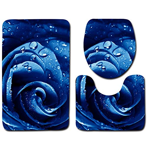 L&KW Set 3Tlg Badematten,Rechteck Badvorleger50*80CM Badteppich Badgarnitur Matte Badvorleger WC-Deckelbezug Toilettendeckel Set 3Tlg Bathroom Rug Mat Weich Duschmatte Mit
