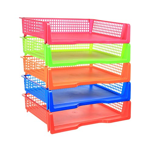 Zilpoo 5 Tier - Plastic Desk Letter Organizer Trays, Stackable Classroom Desktop Document Paper Storage, Landscape Side Load File Holder, Assorted Colors