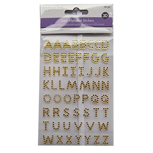 Forever in Time 3D Gem Alphabet Raised Stickers - Gold - Arts, Crafts, Scrapbooking
