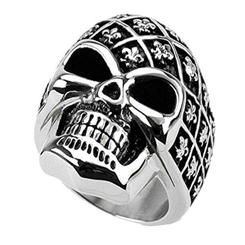 Piersando Herren Big Ring Edelstahl Biker mit Totenkopf Skull Helm Motiv Herrenring 28mm Breit Silber Größe 74 (23.6)