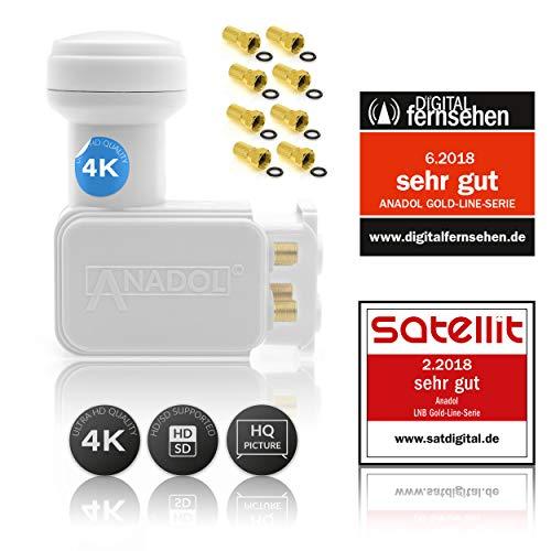 Anadol Gold Line Digitaler Quad-LNB [Test 2x SEHR GUT] - 0.1dB Rauschmaß - Wetterschutz LNB - Full HD-TV 3D 4K Ultra-HD - Digitaler 4fach-LNB für Satellit - LNB inkl. 8 vergoldete F-Stecker