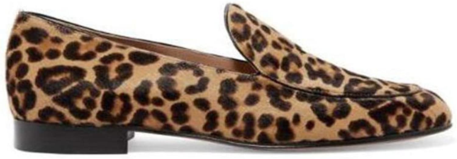 T-JULY Fashion Women Casual Flats Loafers Genuine Leather Leopard Haircalf Slip on shoes