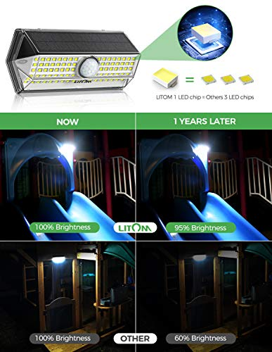 Solar Lights Outdoor, LITOM 100 LED Solar Motion Sensor Lights Outdoor with 4 Optional Modes, Wide-angle Design,IP67 Waterproof, Easy-to-Install Solar Security Lights for Front Door Yard Garage 4 Pack