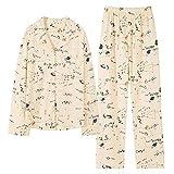 CIDCIJN Ensemble Pyjama Femme,Moda Pijamas De Algodão Feminino Bonito Pijamas Meninas Manga Longa Tops + Calças COM Bolsos Polka Dot Casual Lounge Wear,Orange,XXL