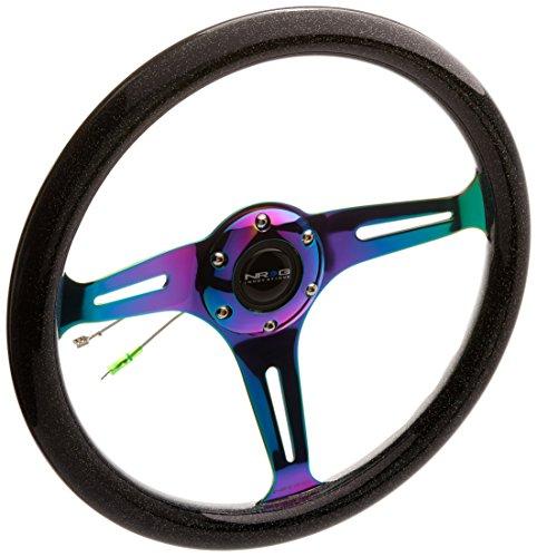 NRG Innovations ST-015MC-BSB'Galaxy' Classic Wood Grain Wheel (350mm 3 Neochrome spokes - Black Sparkled Color)