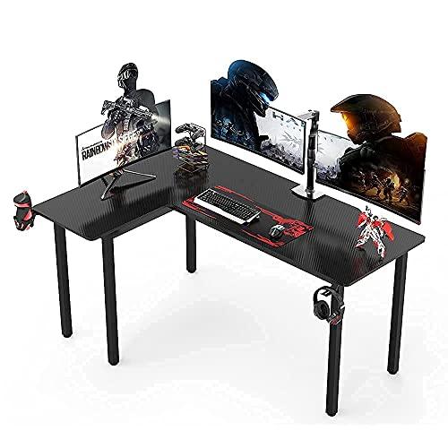 Dripex Gaming Tisch Schreibtisch 155CM Ergonomic Gaming Eckschreibtisch Computertisch Kohlefaseroberfläche mit Getränkehalter Kopfhörerhalter 155x110x77.5CM