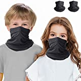 Kinder Schlauchtuch Sommer, 2 Pack Atmungsaktiv Cartoon Gesichtsmaske mit UV-Schutz, Multifunktionstuch für Kinder, Sonnenschutz-Schal waschbar und unbegrenzt wiederverwendbar, Kopfbedeckung (Black)