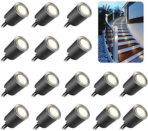 Mini Faretti Incasso,ONLT 16PCS 4500K Luci Di Coperta LED,IP67 Impermeabile 0.6W Ø32Mm Esterno Per Patio Cucina Giardino Passerella Armadio Ponte In Legno, Faretti Da Incasso A LED A Pavimento