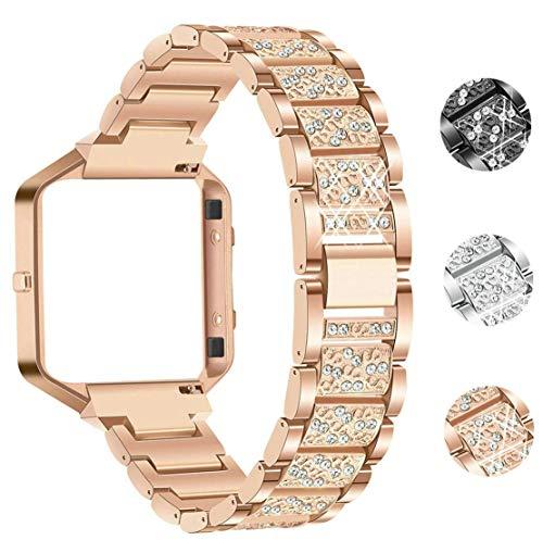 Sannyway - Correa de repuesto para Fitbit Blaze, marco de metal con diamantes de imitación de acero inoxidable, color negro, plateado, oro rosa