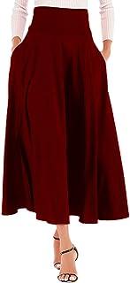 Calvin&Sally Women's Casual Flowy Dress High Waist Pleated Midi Skirt with Pockets