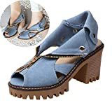 Clearance! Swiusd Womens Zip Clousure Cuffed Denim Sandals Non Slip High Heel Peep Toe Sandals Trendy Thick Platform Beach Shoes (Blue, 8.5 M US)