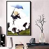 WIOIW Anime japonés Comics Ficción de Dibujos Animados Violet Evergarden Hermosa Falda Linda Chica Pintura de la Lona Arte de la Pared Póster Impresiones Fans Dormitorio Sala de Estar Decoración del
