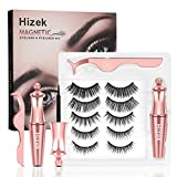 Magnetic Eyelashes With Eyeliner Kit, Hizek Upgraded 3D Magnetic Eyelashes Kit With 5 Pairs Reusable False Eyelashes Natural, Tweezers and Magnetic Eyeliner - No Glue Needed(Pink)