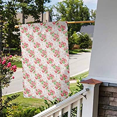 Anmaseven Shabby Chic Double Sided Garden Flag Celebration Parade Flag Diagonal Rose Bouquets Pattern with Classical Pastel Color Fantasy Soulful Buds Multicolor