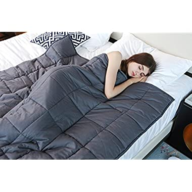 YnM Weighted Blanket (22 lbs, 60''x80'', Queen Size), Organic Cotton & Glass Beads Gravity 2.0 Heavy Blanket, Great Sleep Therapy for People with Anxiety, Autism, ADHD, Insomnia or Stress