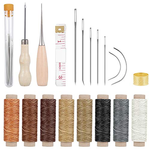 Paxcoo 31 Pcs Leather Hand Sewing Craft Tools with Sewing Needles, Waxed Thread, Drilling Awl for Leather Canvas Sewing