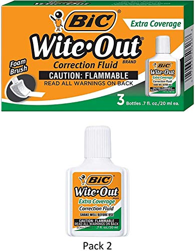 BIC Wite-Out Brand Extra Coverage Correction Fluid, 20 ml, White, 3-Count, 2 Pack