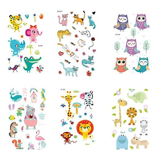 TOYMYTOY Tier Kinder Tattoos 6 Blätter Cartoon Aufkleber Party Favors für Jungen Mädchen