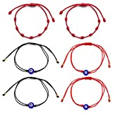 Pulsera Mal Ojo Pulsera ,RoadLoo 6pcs Pulsera roja Suerte y Protección Amuleto Pulseras para Protección 7 Nudos Hilo Rojo Destino Trenzado Pulsera Ajustable para Mujeres y Hombres Niños y Niñas Unisex