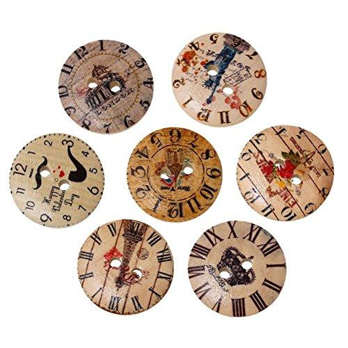 Outflower. 100 Unids Botones de Vintage Madera Snaps Reloj Imprimiendo Botón 2 Aagujero Bricolaje Creativo Accesorios Costura Manualidades
