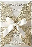Hosmsua 50 tarjetas de invitación cortadas con láser con lazo y sobres para invitaciones de boda, despedida de soltera, compromiso, cumpleaños (purpurina champán), 50 unidades