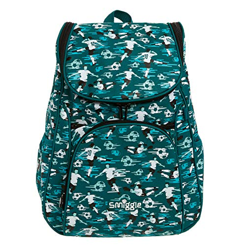 Smiggle Good Vibes Access School Backpack for Boys & Girls with Laptop Compartment and Dual Drink Bottle Sleeves | Football Print